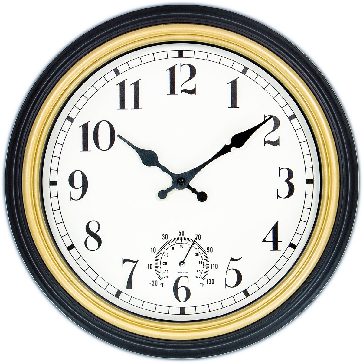 45Min 12-Inch Indoor/Outdoor Retro Wall Clock with Thermometer, Silent Non Ticking Round Wall Clock Home Decor with Arabic numerals