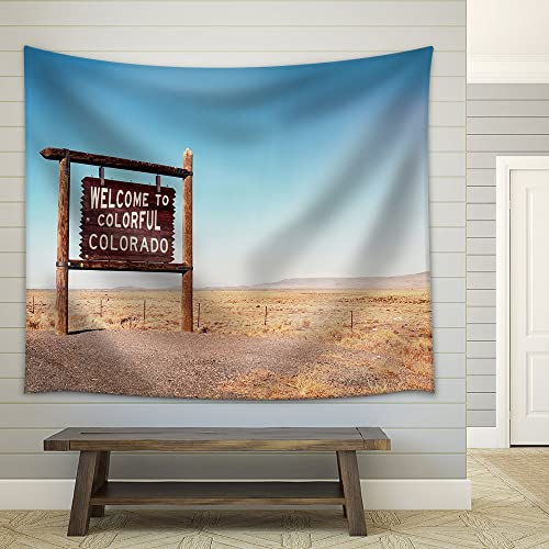 wall26 – Welcome to Colorado Roadside Wooden Sign at a Border with Utah in Northwestern Colorado – Fabric Wall Tapestry Home Decor – 68×80 inches