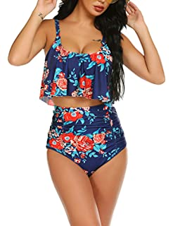 Aedericoe Swimsuit for Women Two Pieces Bathing Suits Top Ruffled with High Waisted Bottom Tankini Set