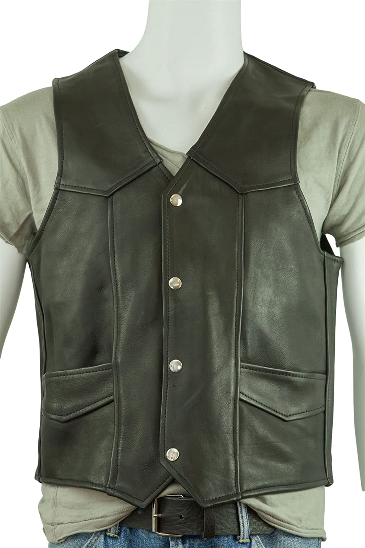 Osx Men Black Classic Sleeveless Biker Leather Waistcoat ...