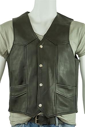 Osx Men Black Classic Sleeveless Biker Leather Waistcoat Jacket S