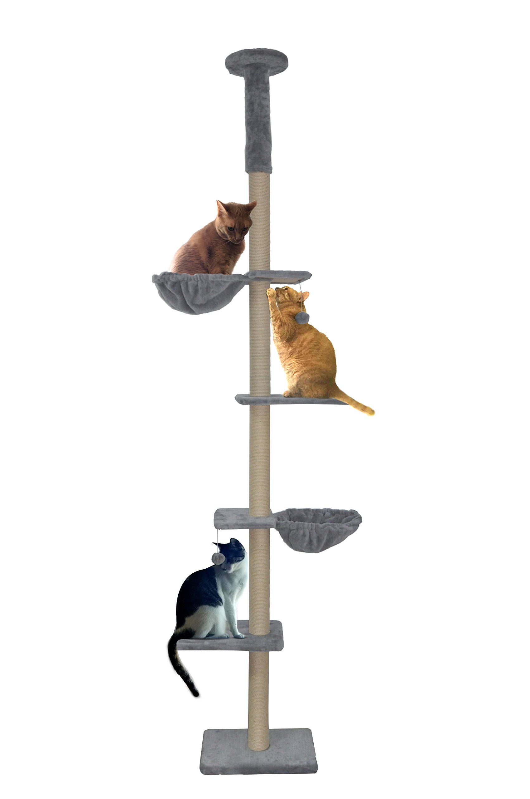 Roypet Upgraded Stable Adjustable 87''-116''Tall Cat Climbing Tree with Perches with Fixing Tool