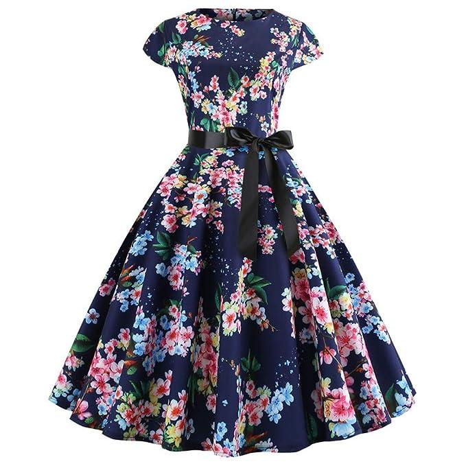 Lenfesh Rockabilly 50s 60s Vestido Corto con Lazo Mini Vestido Floral Estampado Vintage Vestir Vestido Fiesta Noche Mujer: Amazon.es: Ropa y accesorios