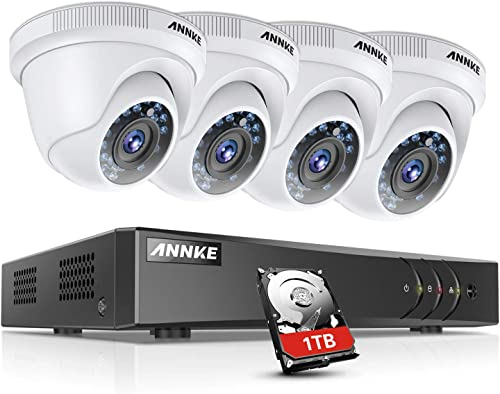 ANNKE Security Camera System 8-Channel 1080P HD-TVI DVR with 1TB Hard Drive and 4 2.0MP 1080P FHD Weatherproof Cameras, Email Alert with Snapshots, Enable H.264 to Record Longer