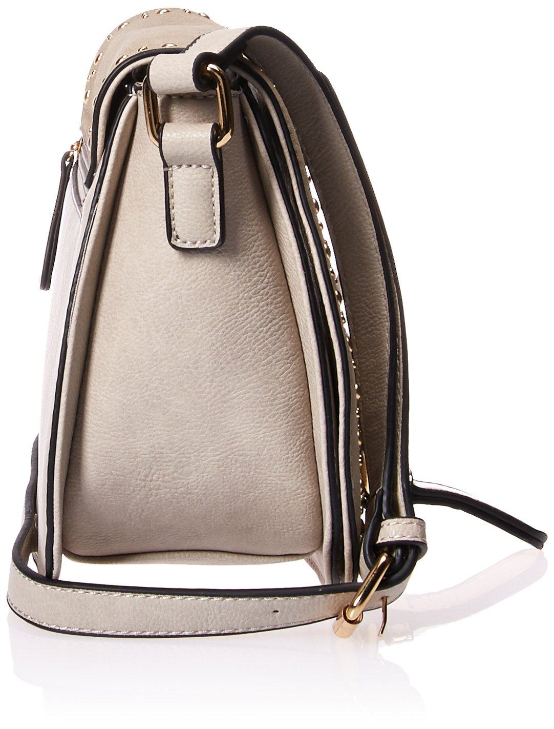 Nikky Womens Studded Soft Eco-Leather Gray Crossbody Cross Body Bag One Size