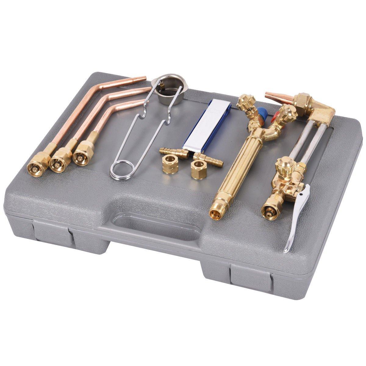 NEW 10 PCS Gas Welding & Cutting Kit Oxygen Torch Acetylene Welder Tool Set with Case by Jikkolumlukka