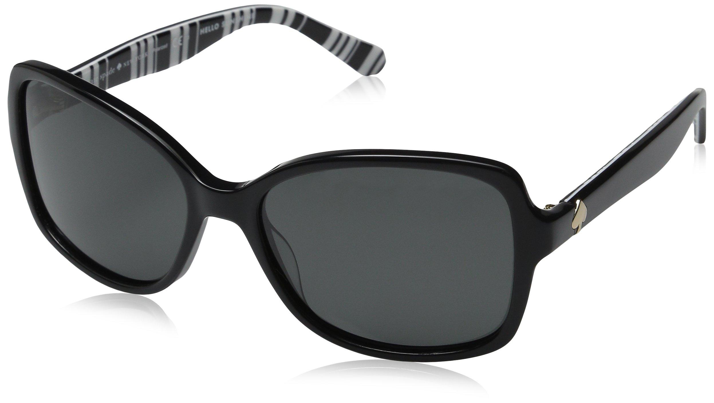 Kate Spade Women's Ayleen/P/S Polarized Rectangular Sunglasses, Black Pattern White/Gray, 56 mm