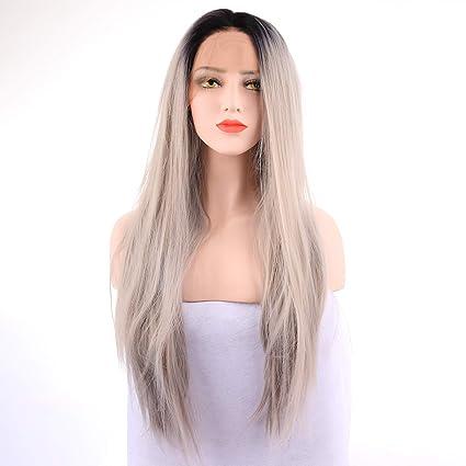 WMHF Peluca recta larga gris natural del pelo humano de la peluca del cordón de la