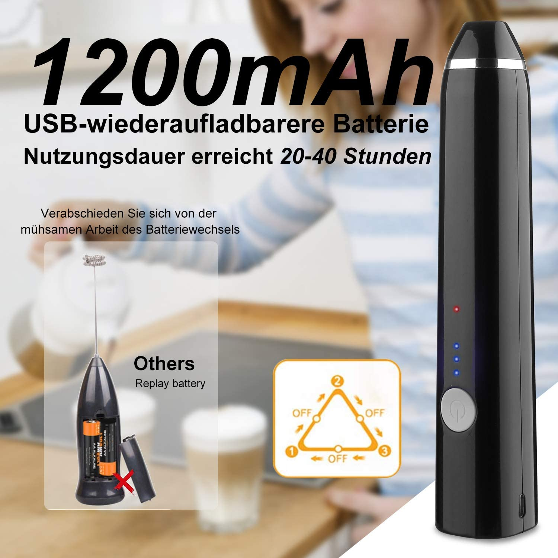 para latte capuchino Espumador de leche el/éctrico ALIENGT USB recargable batidor de huevos espuma de leche espumador de leche el/éctrico espumador de leche 2 en 1 caf/é negro