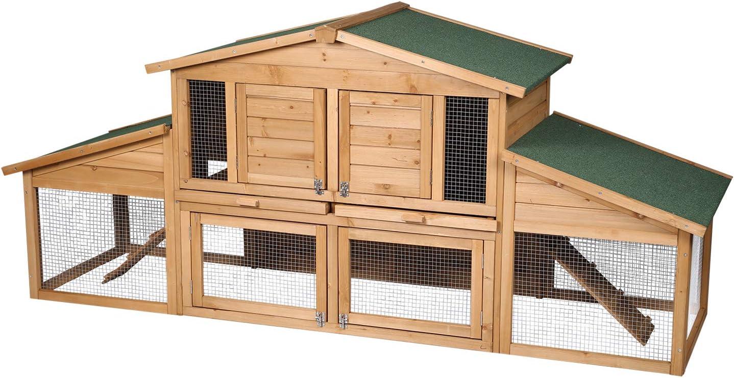 Elightry Gallinero Conejeras de Exterior Madera Jaula Conejos Cobayas Hamster Animales Pequeños con 2 Pisos 230 x 74 x 99cm YDTL0006