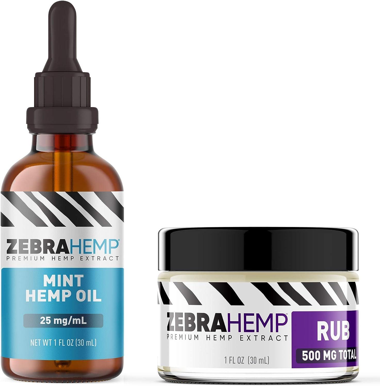 ZEBRA HEMP Mint Oil – USA Made - Pure Organic Oil Drops in Tincture + ZEBRA HEMP Natural Joint & Muscle Pain Discomfort Relief Rub/Cream/Salve - 500 mg…