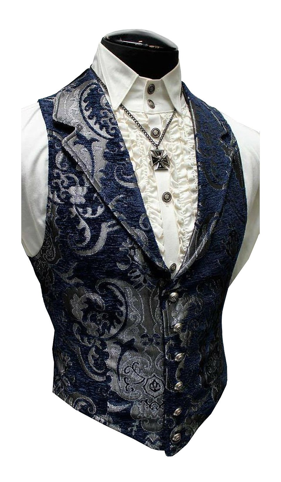 Shrine Gothic Aristocrat Steampunk Victorian Blue Silver Tapestry Vest (M)