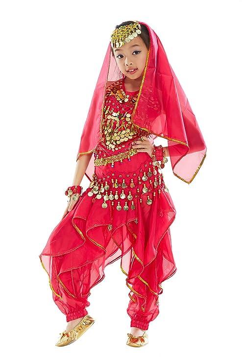 BellyQueen Maillot Danza de Vientre Traje de Danza 7 Piezas Top Pantalones Accesorios para Fiesta Carnaval Disfraz Niña 6-8 Años - Rosa