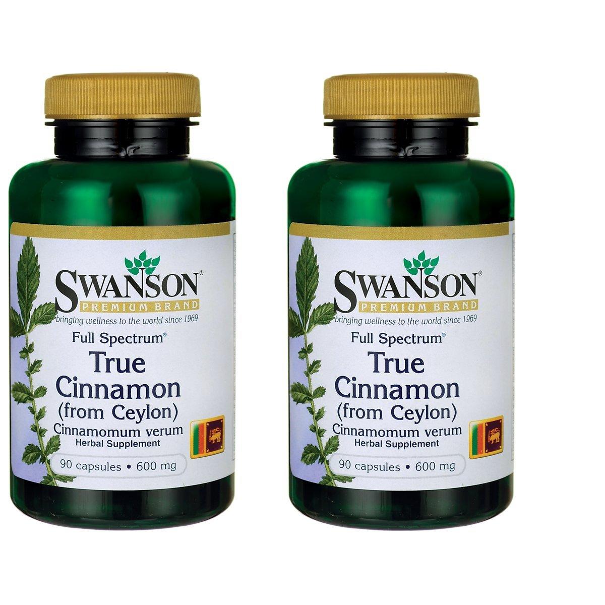 Swanson Full Spectrum True Cinnamon 600 Milligram, 90 Caps (Pack of 2)