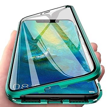 Eabhulie Huawei Mate 20 Pro Funda, Metal Bumper con Adsorción Magnética + 360 Grados Vidrio Templado Cobertura de Pantalla Completa Carcasa para ...