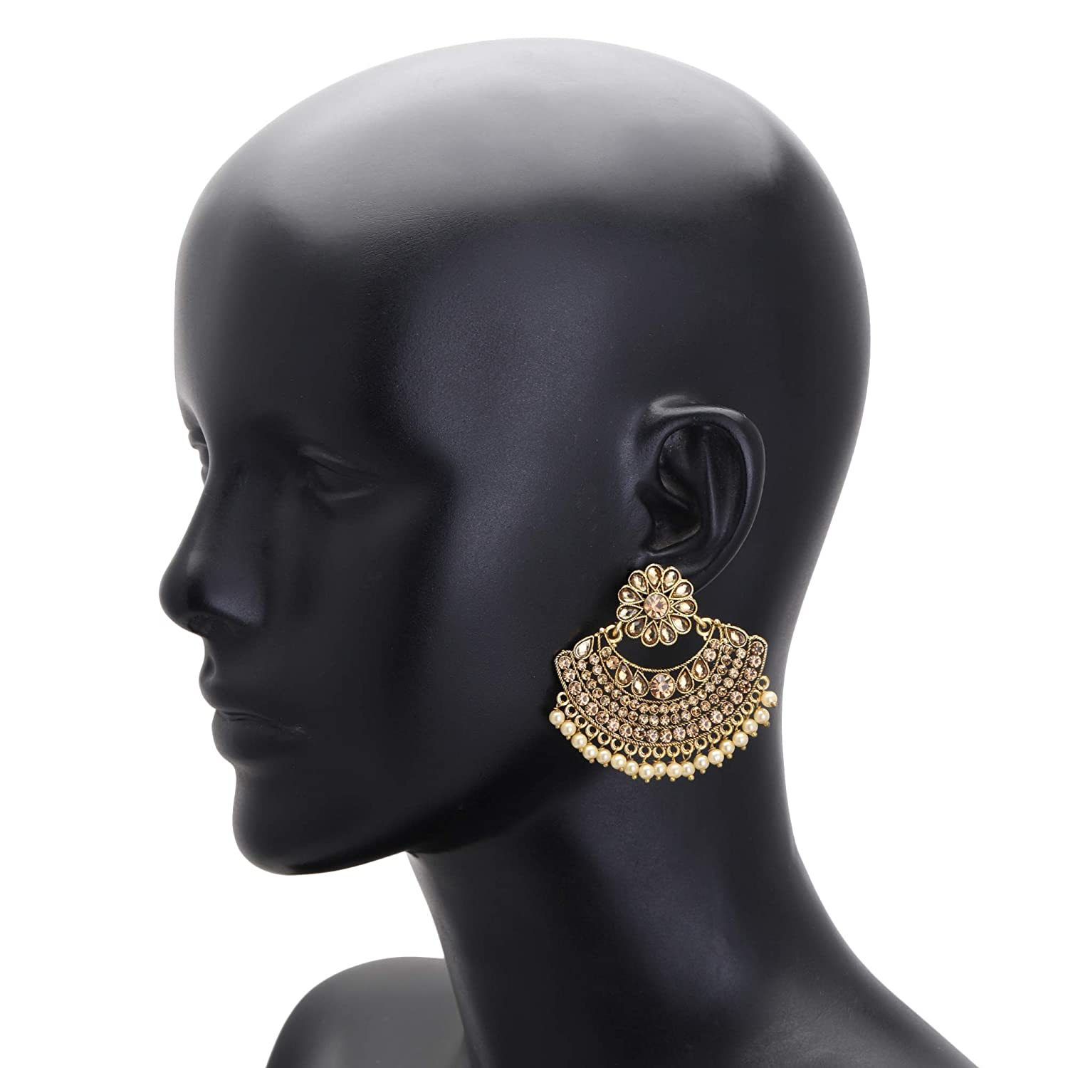 Jwellmart Gold Plated Kundan Stone Drop Dangle Chandbali Indian Polki Style Partywear Earrings for Women and Girls