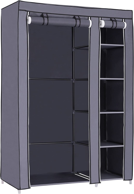 SONGMICS Armario de Tela para Ropa, Organizador Textil Plegable, 175 x 110 x 45 cm, Gris LSF007G