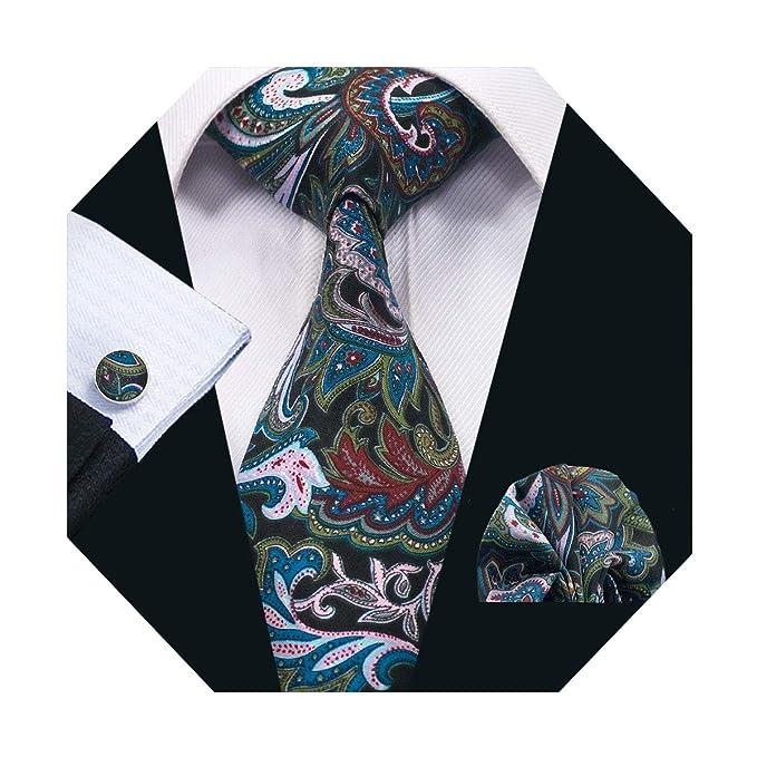 69f4faefa048f DiBanGu Paisley Tie Handkerchief Men's Cotton Tie and Pocket Square Set  Black Floral Tie