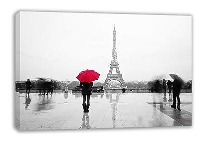 Rojo chica con paraguas París Torre Eiffel Lienzo de arte de pared (44 x 26
