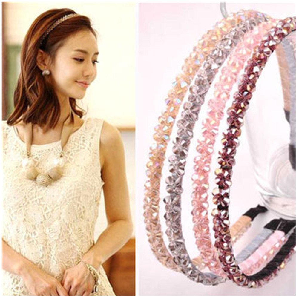 6Pc Bling Double Rows Crystal Rhinestone Headband for Women Girls Thin Hair Hoop