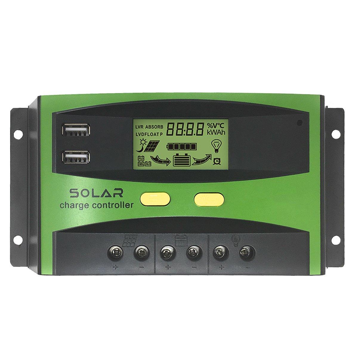Huatuo 20A 12V impermeabile regolatore di pannello solare adattatore con doppia porta USB Display LCD protezione mutiple 24V regolatore di carica solare