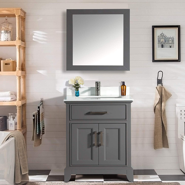 Vanity Art 30 Inch Single Sink Bathroom Vanity Set Super White Phoenix Stone Soft Closing Doors Undermount Rectangle Sink with Free Mirror – VA1030-G