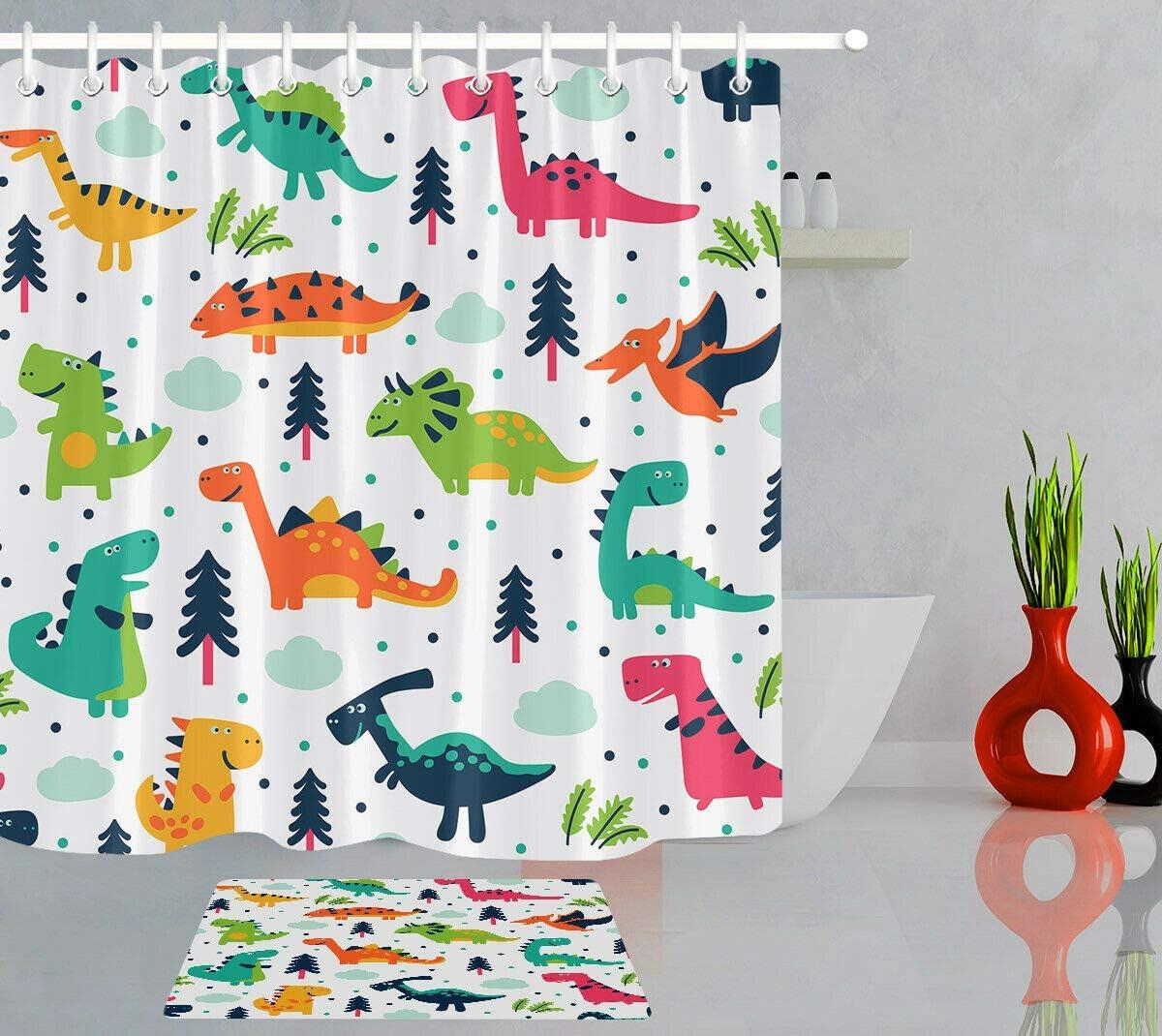 vrupi Cute Dibujos Animados Dinosaurios Moda Infantil Cortina ba/ño Conjunto impresi/ón 3D 12 Ganchos Revestimiento Impermeable Tela poli/éster ba/ño Cortina ba/ño 71x71 Pulgadas Alfombra ba/ño 60x40cm