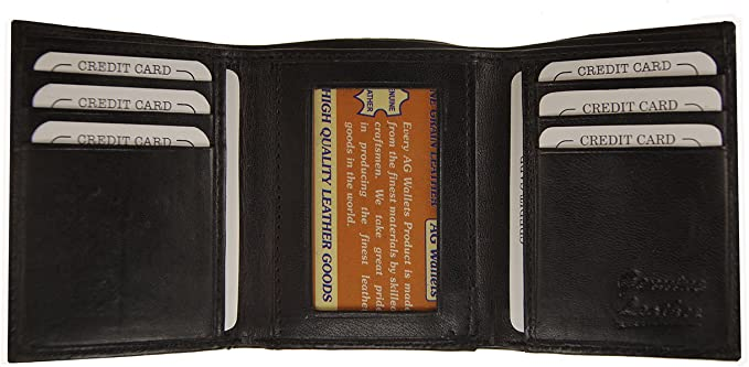 Men/'s Genuine Leather Trifold Wallet Brown 8 Credit Card slots ID window