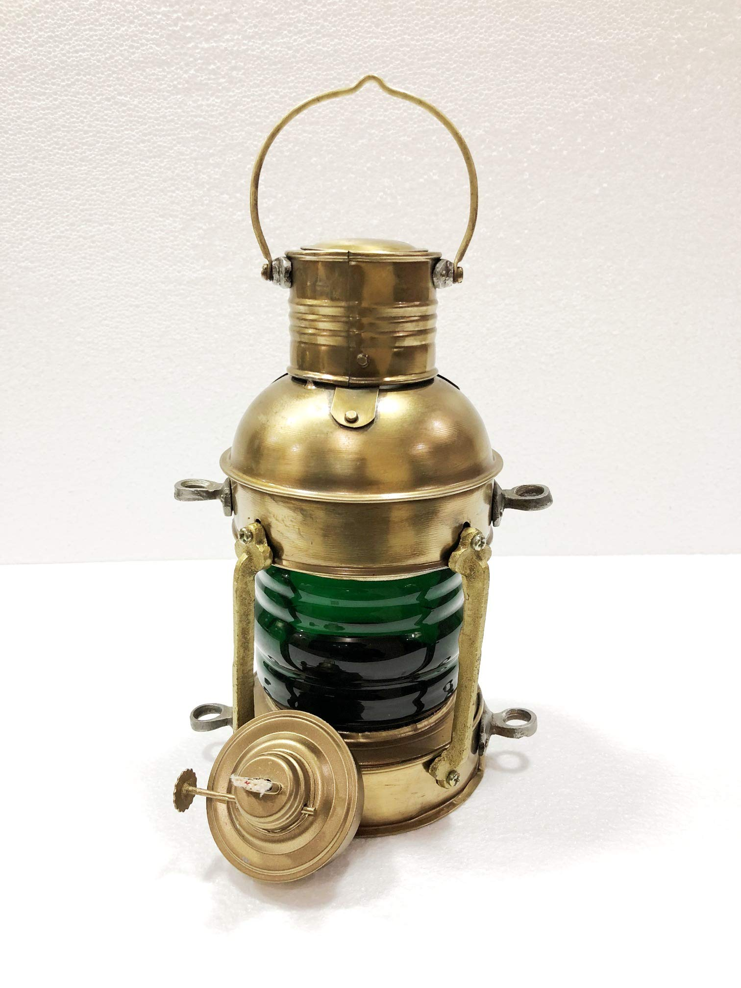 Nautical Antique 10'' Ship Lamp Boat Green Oil Lantern Maritime Collectible Decorative