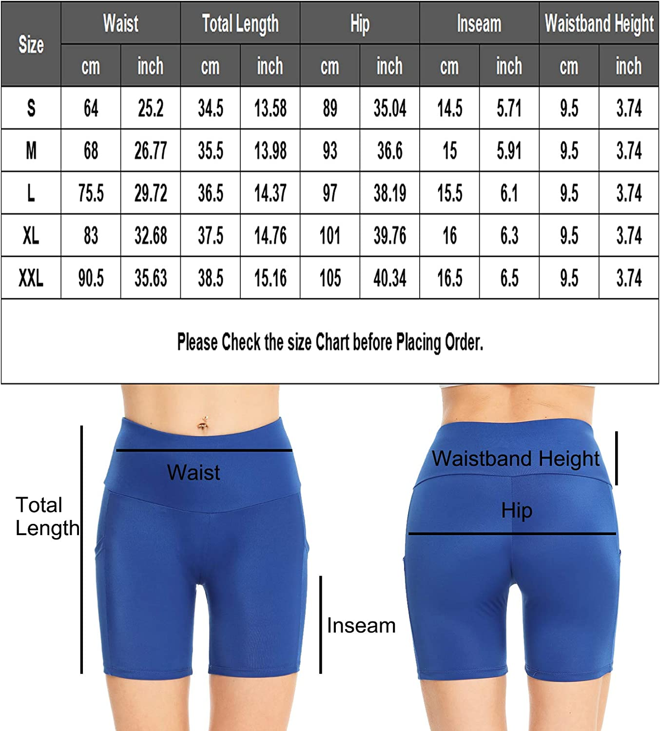 2 Packed SWOMOG Women High Waist Yoga Shorts Workout Biker Shorts Running Compression Exercise Shorts with Pockets