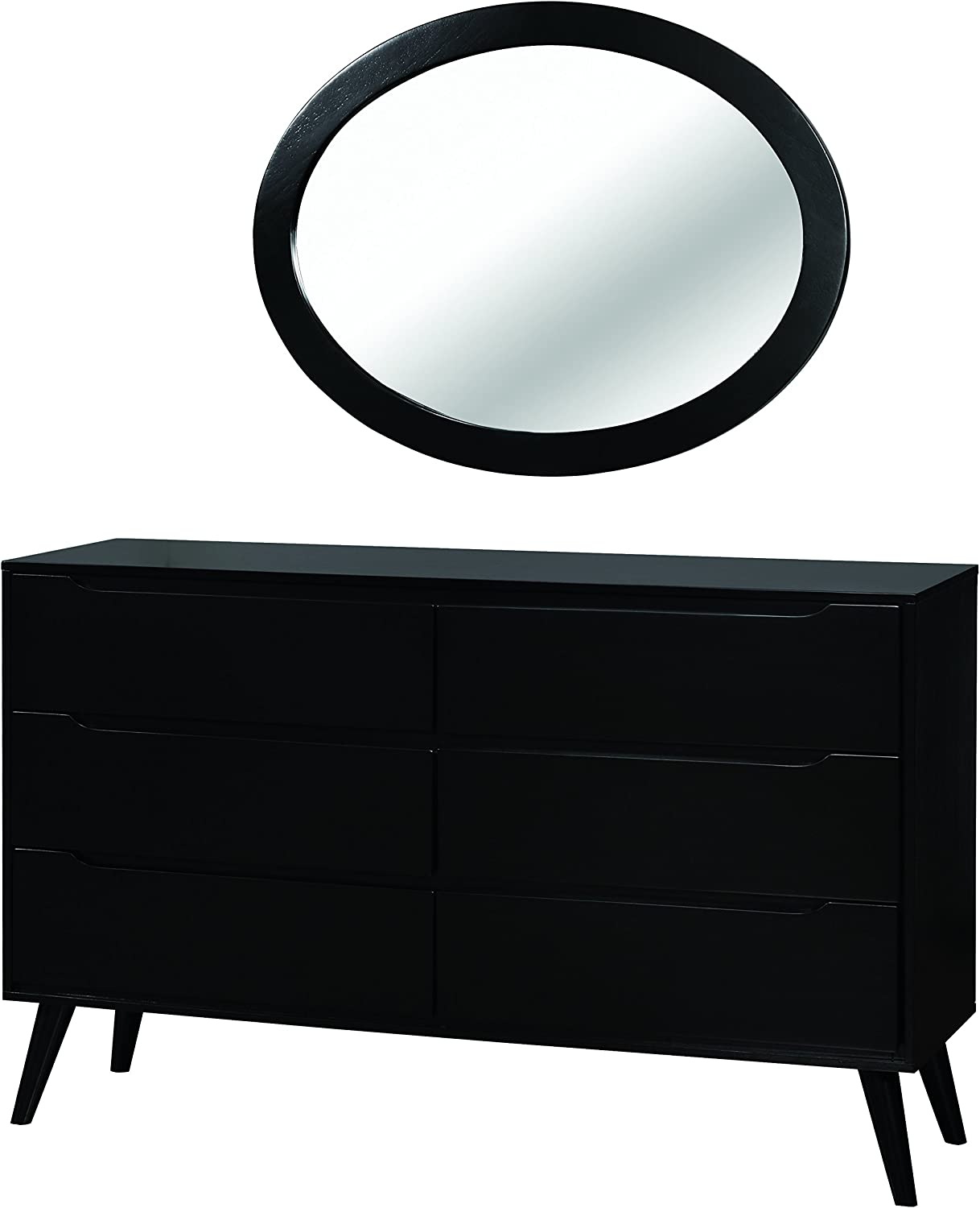 Inside HOMES Black Out Debonaze Queen 4-Piece Bedroom Set with Oval Mirror