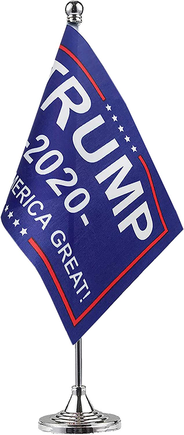 GentleGirl.USA Donald Trump President Table Flag,Stick Small Mini Donald Trump President Flag Office Table Flag Stand with Stand Base,America Election Day Celebration Event Party,Home Desk Decoration