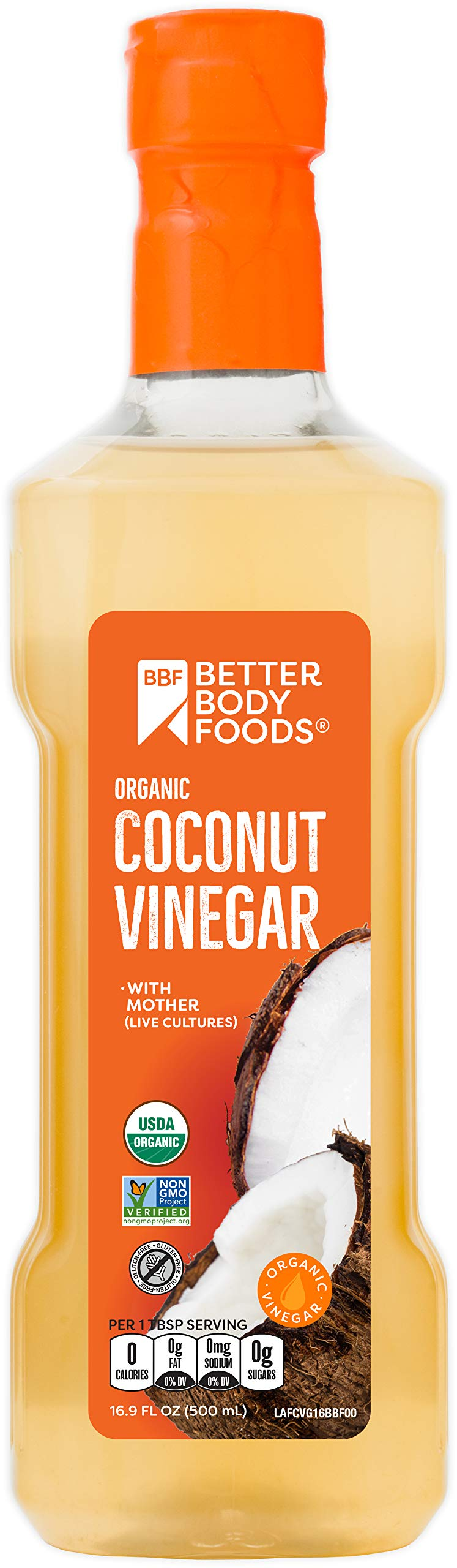 BetterBody Foods Organic Coconut Vinegar, 16.9 Ounce (Pack of 6)