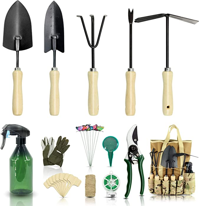 Gardening Tool Set-28 Piece,Yartting Newest Version,Heavy Duty Garden Tools Includes Ergonomic Wooden Hand Weeder Culti-Hoe,Trowel Spray Bottle,Garden Tote and More-Gardening Gifts for Men Women