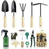 YARTTING Gardening Tool Set-28 Piece, Newest Version, Heavy Duty Garden Tools Includes Ergonomic Wooden Hand Weeder Culti-Hoe