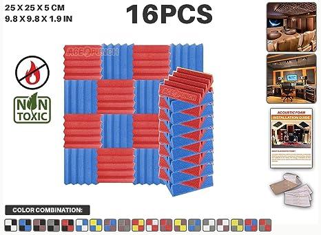 Ace Punch 16 piezas ROJO y AZUL Cuña Studio Foam Panel Aislamiento Acústico Tratamiento Espuma Acústica