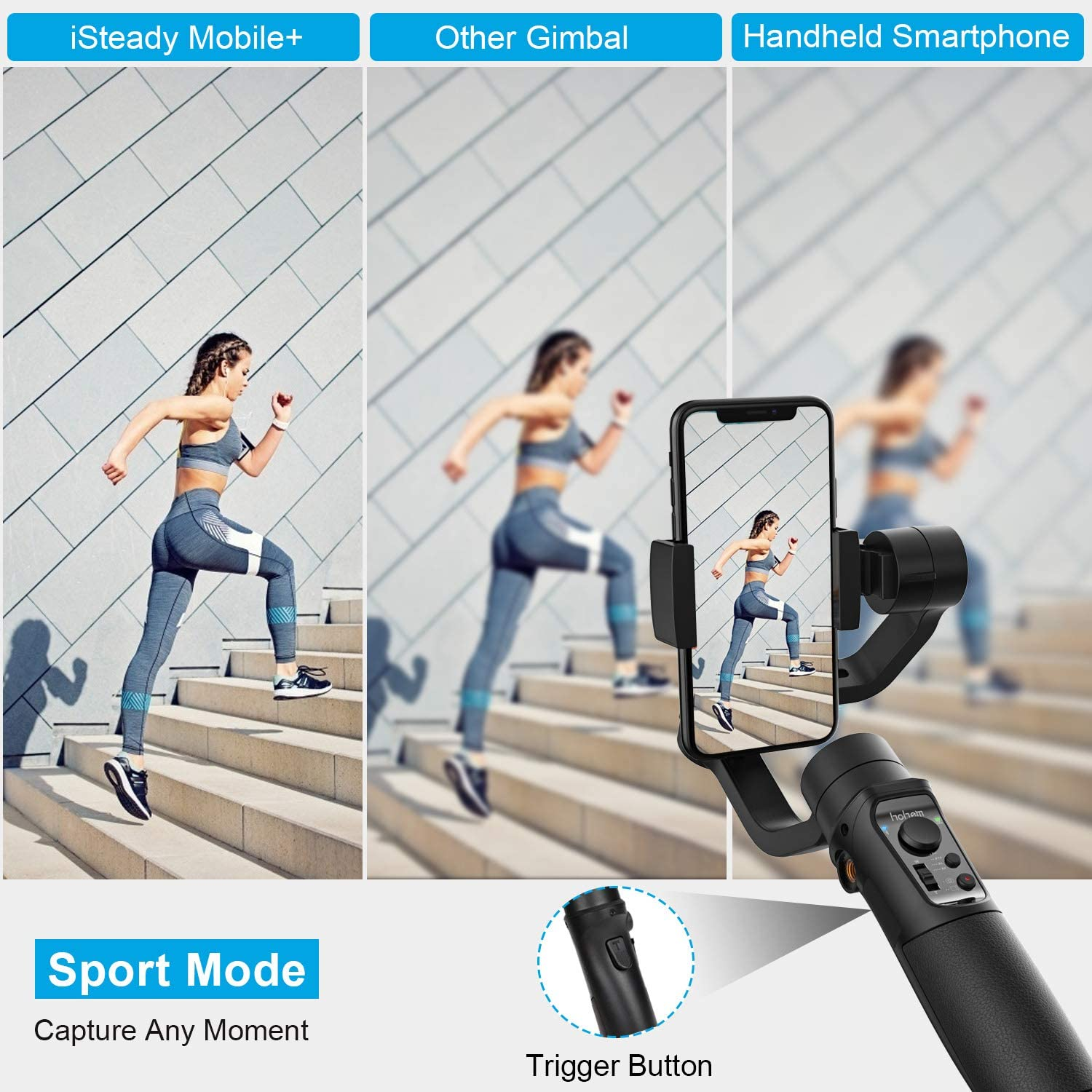 Youtuber 2019 New Model Hohem iSteady Mobile Plus Smartphone Gimbal,Smartphone Stabilizer for iPhone 11//11 Pro//XS//XS MAX//XR//8,Smartphone Gimble for Galaxy S10//Plus//S9,Designed for Vlog