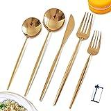Gold Silverware Set Gold Cutlery Set 18/10 Stainless Steel Gold Utensils Set Gold Mirror Flatware Set For 2,Tableware…