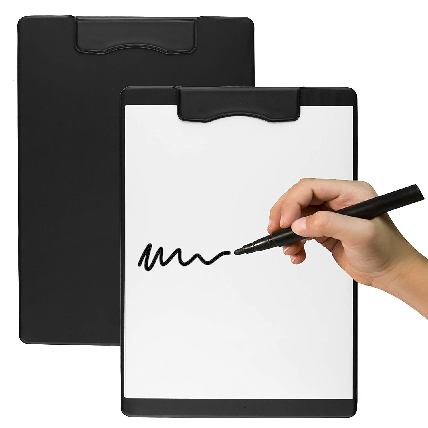 Set of 2 - Paper Size Magnetic Clipboards with Magnetic Profile, Standard A4 Document and Letter Holder, Size 9'' x 12.5''