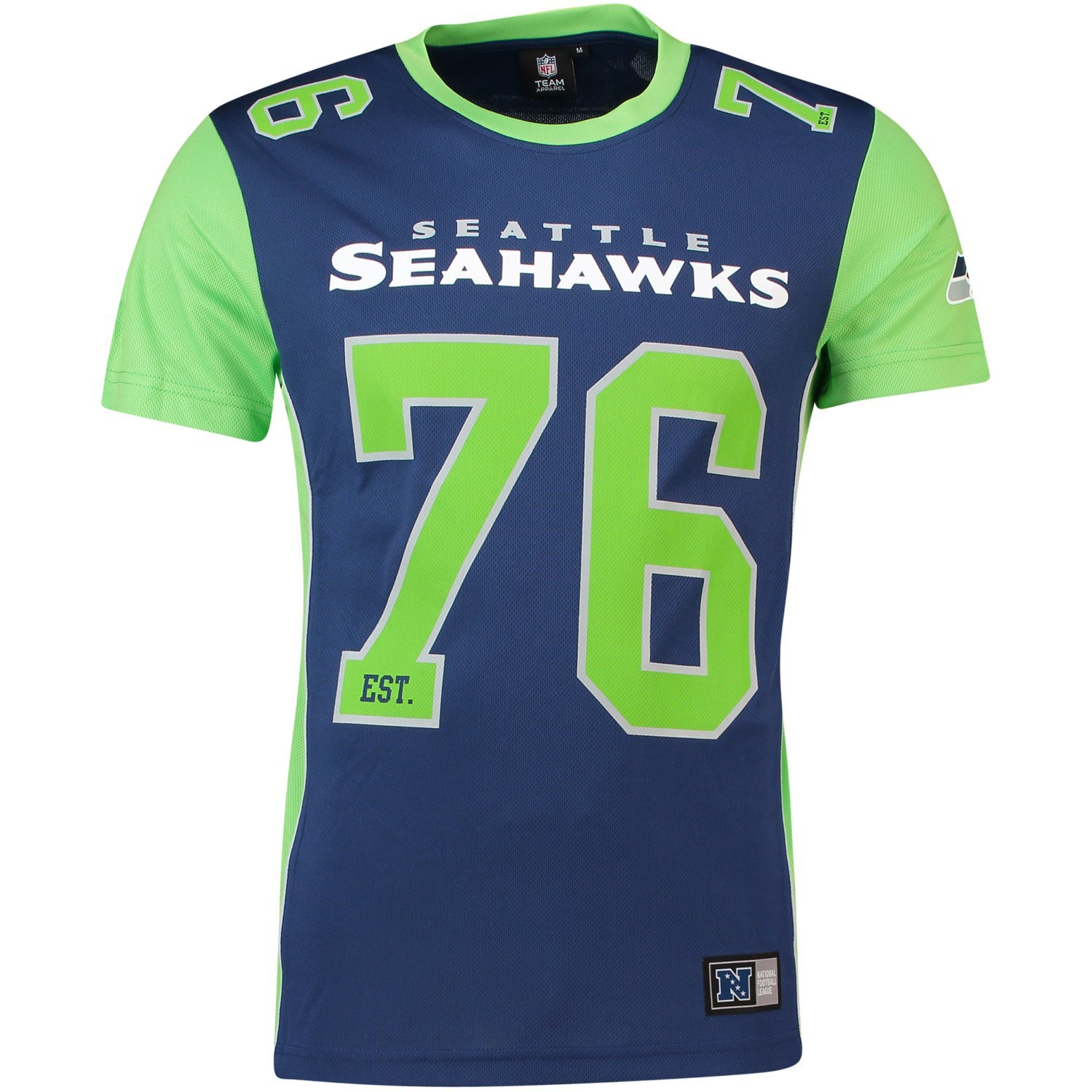 Majestic T-Shirt – NFL Seattle Seahawks Dene Poly Mesh Blau/Grün Majestic Athletics