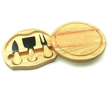 Juego de cuchillos y tabla de queso de madera, 19 cm ...