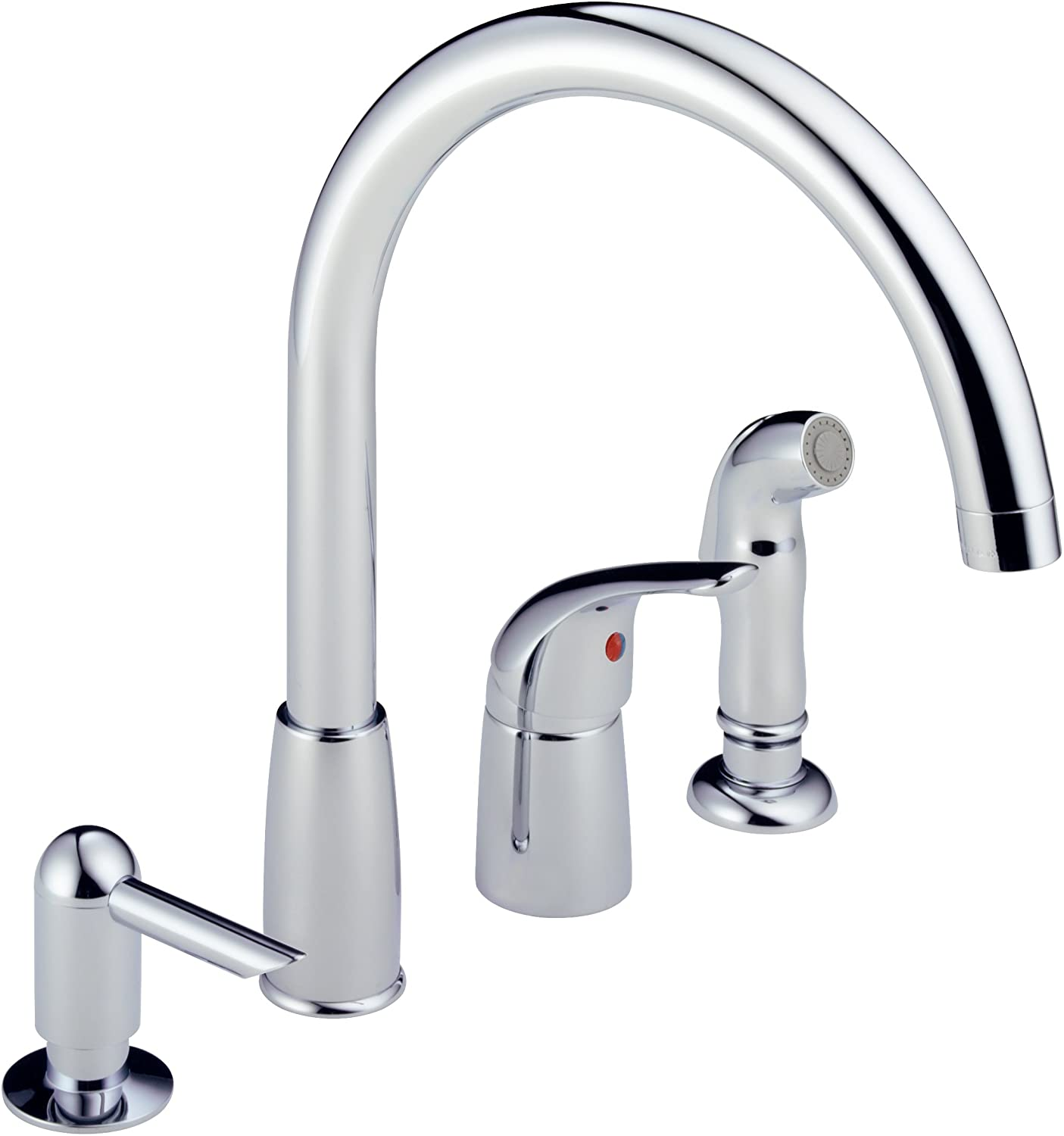 Peerless P188900LF SSSD Apex Single Handle Widespread Kitchen Waterfall  With Soap Dispenser, Stainless   Pot Filler Kitchen Sink Faucets    Amazon.com