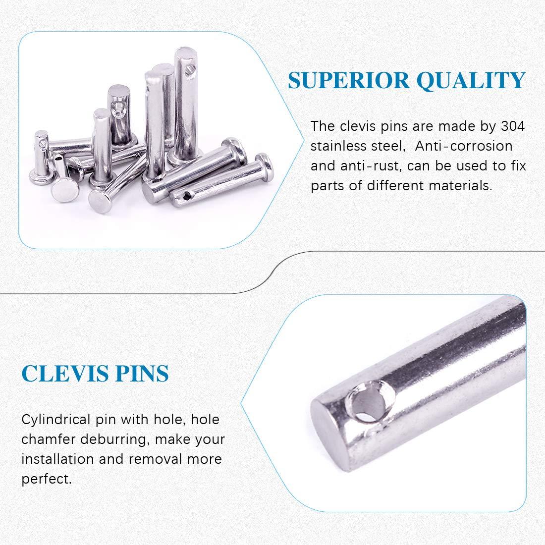Glarks 64Pcs 12 Sizes 304 Stainless Steel Flat Head Single Hole Clevis Pins Assortment Kit