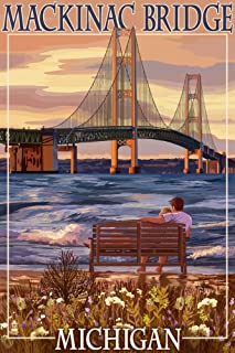 product image for Mackinac, Michigan - Mackinac Bridge and Sunset (36x54 Giclee Gallery Print, Wall Decor Travel Poster)