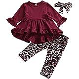Conjuntos para Niña de Otoño Primavera Ropa para Niña 3 Piezas Camiseta Roja Manga Larga con Pantalones Estampado…