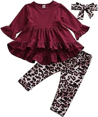 Conjuntos para Niña de Otoño Primavera Ropa para Niña 3 Piezas Camiseta Roja Manga Larga con Pantalones Estampado Leopardo y Diadema Leopardo para Casual Otoño