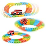 FULLIN Race Car Track Toy Magic Rail Flexible Set Diy, 56 Piece