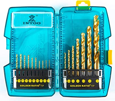 INTOO Industry Drill Bit Set,17Pcs Titanium Drill Bits with Golden Ratio Tip,Patented Design for Stainless Steel and Hard Metal