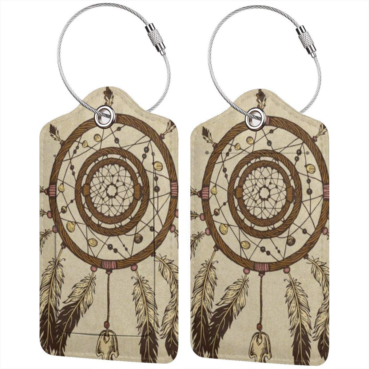 Dream Catcher Tribal Ethnic Feathers Leather Luggage Tags Personalized Travel Accessories With Adjustable Strap