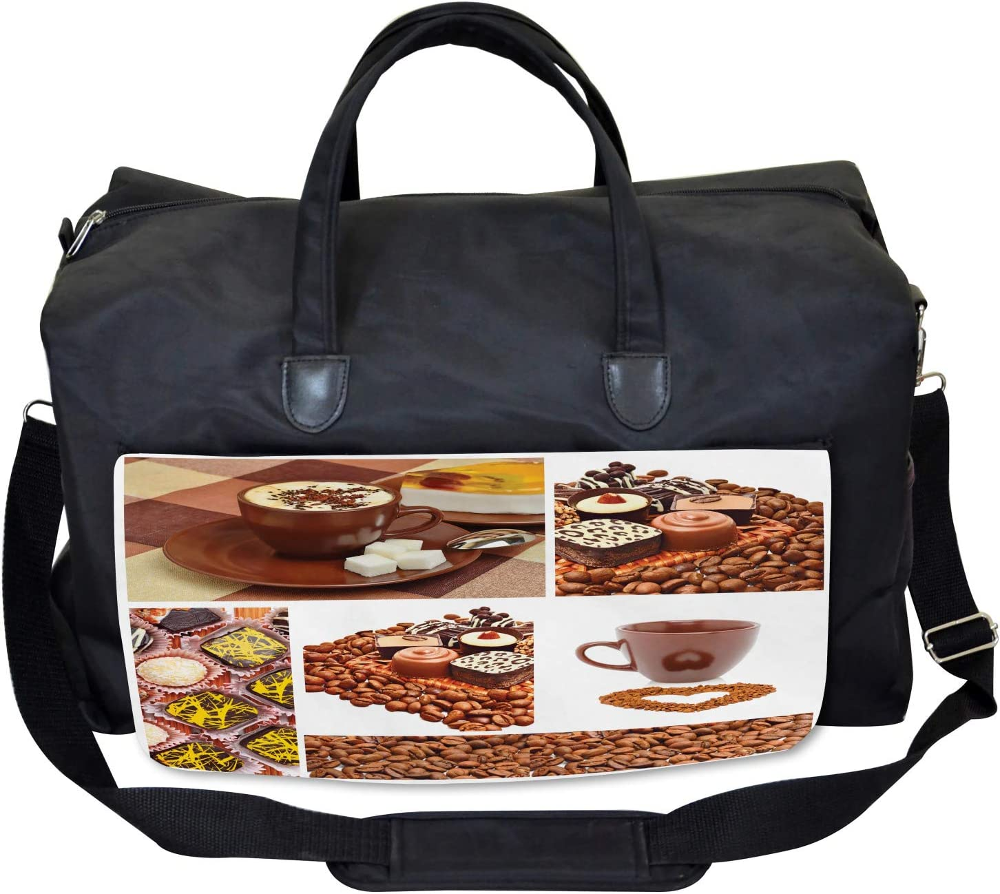 Sweets and Coffee Beans Ambesonne Coffee Gym Bag Large Weekender Carry-on